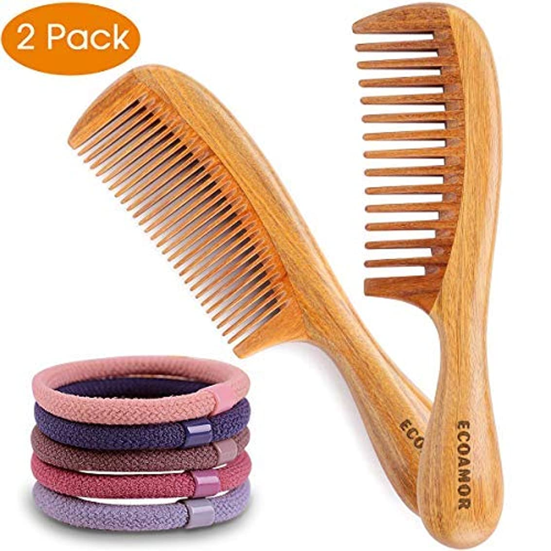 増加する承認結果としてECOAMOR Handmade Green Sandalwood Wide & Fine Tooth Hair Comb for Men Women and Kids - No Snags, No Tangle, No...
