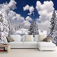 Xueshao カスタム壁紙冬の雪風景森の壁壁画壁の装飾リビングルームのソファテレビの壁紙壁画3D-280X200Cm