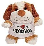 [テディベアぬいぐるみ]Adopted By TB2 GEORGIOS Cuddly Dog Teddy Bear Wearing a Printed Named T-Shirt[並行輸入品]
