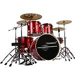 ドラム・パーカッション ドラムパーティーパーティードラムセット大人の子供の自己学習ドラムプロ演奏パーカッション楽器5ドラム4個 (Color : Red, Size : 120*160cm)