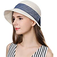 Packable Womens Short Brim Straw Fedora Sun Hat Summer Beach Cloche SPF 55-58cm