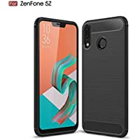 AVIDET Asus Zenfone 5 ZE620KL ケース 炭素繊維カバー 高品質TPU シリコン Zenfone5 ZE620KL ケース 保護バンパー 弾力性付き (Zenfone 5Z ZS620KL ケース ブラック)