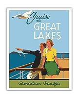 五大湖をクルーズ - カナディアン・パシフィック 蒸気船 - ビンテージな遠洋定期船のポスター によって作成された ノーマン・フレイザー c.1939 - アートポスター - 41cm x 51cm