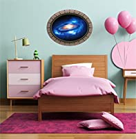 90cm Porthole Instant Outer Space Ship Window View NEBULA & STARS 1 OVAL RIVETS Wall Decal Kids Sticker Baby Room Home Art Decor Den Mural Man Cave Graphic LARGE