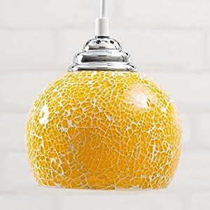 【ペンダントライト おしゃれ】光で彩る癒しの空間 ~ ビードロペンダントライト [グエル - Guell] レトロ モダン 天井照明 ガラス LED電球対応 色:レモン