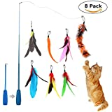 Feather Teaser Toys, niceeshop(TM) Retractable Wand Rod with 7 Pcs Refills Feathers, Interactive Cat Wand Toys for Cat and Kitten Exercise&Entertainment
