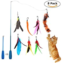 Feather Teaser Toys, niceeshop(TM) Retractable Wand Rod with 7 Pcs Refills Feathers, Interactive Cat Wand Toys for Cat and Kitten Exercise&Entertainment (Blue)