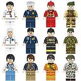 INIBUD ミニフィグ ミニフィギュア 互換 12体セット 医者 警察 軍人 消防士 職業シリーズ4