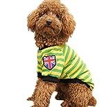 ange select 愛犬 カジュアル ファッション 犬 用 ボーダー Tシャツ 国旗 ユニオンジャック イギリス 柄 ワッペン 小型 中型 犬 ドッグ(イエローS)