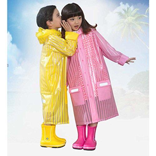雨ポンチョfor Kids toカバーバックパック、c.a.z年齢5–12キッズティーン雨ジャケット雨ポンチョレインコートフード付きでスクールバッグカバーと安全反射ストライプfor Nights and Heavyレインウェア雨の日 L イエロー RA-C-7-8
