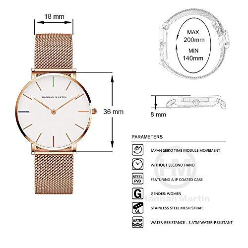 レディース 腕時計 Hannah Martin おしゃれ クラシック シンプル 女性 時計 ビジネス クォーツ watch for women (カラー)