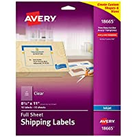 Easy Peel Mailing Labels for Inkjet Printers, 8-1/2 x 11, Clear, 10/Pack (並行輸入品)