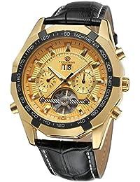 GuTe出品 トゥールビョン 革バンド シンプル 腕時計 メンズ 自動巻き カレンダー 日付 見栄え良い 機械式 ゴールド