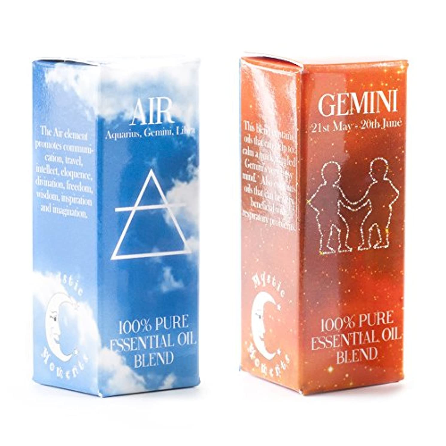 スクレーパーモックゼロMystic Moments | Air Element & Gemini Zodiac Sign Astrology Essential Oil Blend Twin Pack (2x10ml)