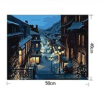 冬のストリートペイントナンバーキット40×50 cm Diyのアクリルペイント子供のための大人の初心者学生ホームリビングルームブラシで飾るフレーム