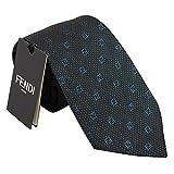 (フェンディ)FENDI ネクタイ 2015AW fxc147-4wb-f0qa2 ダークグレー×ブルー系 灰色 青 小紋 ロゴ