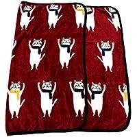 (ディックス)DICS ブランケット かわいい おくるみ ひざかけ 膝掛け 毛布 ねこ 猫 あったか ミニ (赤4)