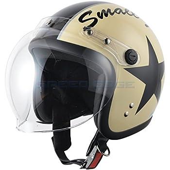 FS-JAPAN [ 石野商会 ] スモールジェットヘルメット バブルシールド付 [ サイズ ] 57cm~60cm未満 [ カラー ] アイボリー/ブラック [ 品番 ] SJ-308ST