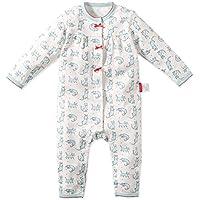 Baby Nest ベビー用 ロンパース カバーオール 前開き 女の子 男の子 長袖 ネコ柄 コットン100% ブルー 6-9M