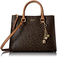 Calvin Klein Women's Logan Satchel Bag with Crossbody Strap, Brown/Khaki Monogram