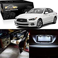Partsam 2014 2015 Infiniti Q50 White Interior LED Package Kit + Tag Lights (10 Pieces) [並行輸入品]