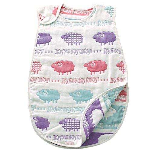 バンビノ スリーパー ベビー 6重ガーゼよりふっくら 8重ガーゼ オーガニックコットン 寝冷え 赤ちゃん 出産祝い(ひつじ)
