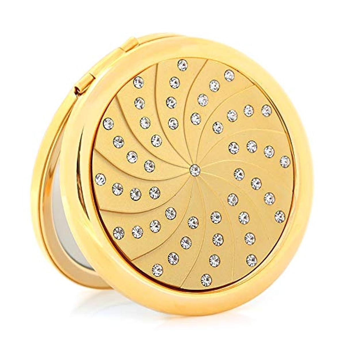 降雨ヒステリック日食流行の 金メッキダイヤモンド小さなミラーポータブル折りたたみ両面ポータブルミラーパーソナライズされた誕生日プレゼント