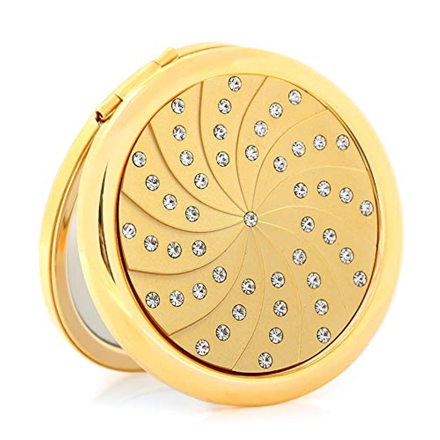 飛行場養う物足りない流行の 金メッキダイヤモンド小さなミラーポータブル折りたたみ両面ポータブルミラーパーソナライズされた誕生日プレゼント