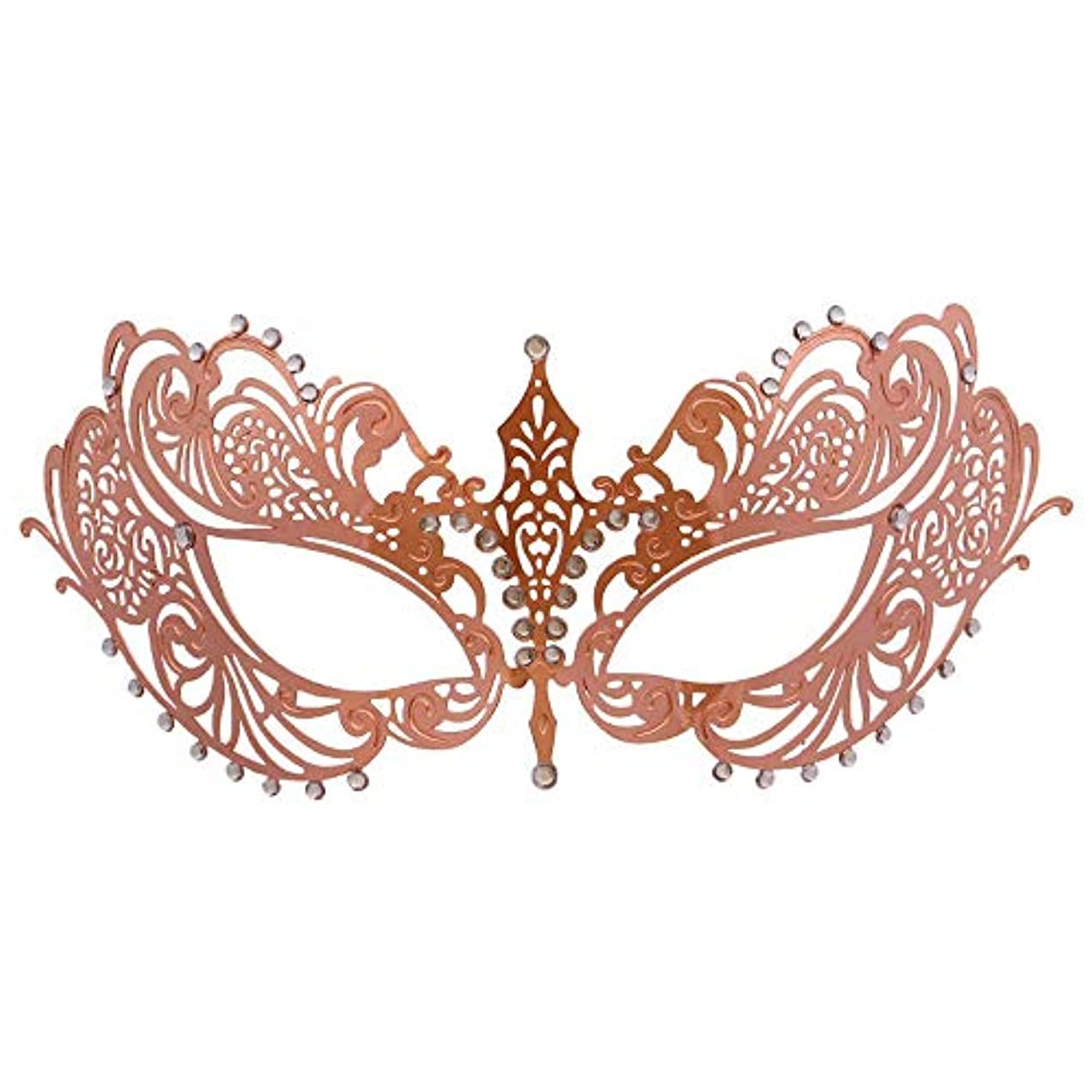 故障中潜むシチリアダンスマスク 薄い鉄ハーフフェイスローズゴールド鉄ダイヤモンドハイエンドマスクハーフフェイスマスクコスプレパーティーハロウィンマスク パーティーマスク (色 : Rose gold, サイズ : 19x8cm)