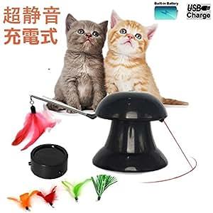 Pawsfun 猫おもちゃ 猫じゃらし USB充電式 超静音 自動回転 自動停止 省エネ 交換用羽付き4個パック 改良版 電動おもちゃ
