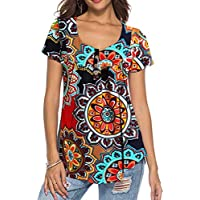 Neitade Women's Shirts Blouses Short Sleeve Button up Tunic Tops