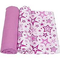 miracle ware ミラクルウエア Muslin Swaddle Blanket 2pk モスリンブランケット2枚セットRadiant Orchid パープルスター