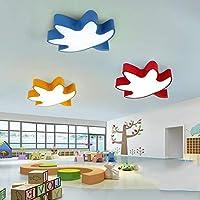 Haiyao シーリングランプ、ホームリビングルームの天井ランプ、寝室の装飾のシャンデリア、室内シーリングライトの導き、目の保護シーリングライトモダンクリエイティブスターライト(ピンク/ライトブルー/ダークブルー/グリーン/ブラック (Color : Red-three-color Dimming-60cm)