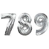 【EDEN】7歳 8歳 9歳 の お祝い 記念写真 『驚きの高さ 約1メーター数字バルーン 789セット』 シルバー(空気入ストロー3本付)[E264]