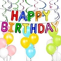 ハッピーバースデーバナー レインボー 誕生日パーティー用品 16インチ カラフルな文字バルーンバナー 12インチ 色付きラテックスバルーン プラスチック渦巻き 女の子 男の子 子供 大人用 誕生日デコレーション