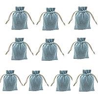 insaney 10pcs 4 x 5inch Double Drawstringコットンリネンジュート布袋モスリンバッグジュエリーポーチ再利用可能なバッグティーバッグお土産ギフトバッグ ブルー