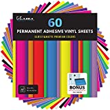 """Kassa Permanent Vinyl Sheets (Pack of 60, 12"""" x 12"""") - Includes Bonus Squeegee - Bundle of Assorted Colors (Matte & Glossy Craft Paper) - Self Adhesive Outdoor Vinyl for Cricut & Silhouette Cameo"""