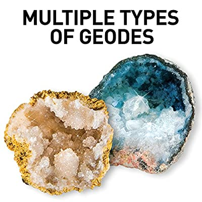 NATIONAL GEOGRAPHIC Break Open 10 Premium Geodes – Includes Goggles, Detailed Learning Guide and Display Stand - Great STEM Science gift for Mineralogy and Geology enthusiasts of any age