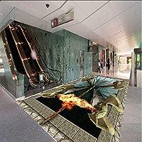 Wuyyii 3Dステレオカスタムフローリング地獄のドアショッピングモールの寝室の絵画フロアステッカー壁紙壁画-200X140Cm