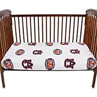 College Covers AUBCSFSWPR Auburn Tigers Baby Crib Fitted Sheet Pair, White