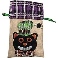 SUPVOX トリックトリートメントキャンディバッグハロウィーンの巾着のギフトバッグ(ブラックキャットパターン)