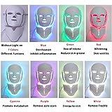 Wantis 7色 LED フェイシャル マスク 美顔器 美白 PDT 光 首ユニット付 エステ毛穴汚れ 肌のツヤ ハリ エイジングケア