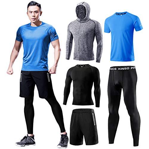 メンズ フィットネストレーニング 加圧シャツ トレーニングウェア メンズ コンプレッションウェア 5点セット スポーツウェア タイツ パーカー ハーフパンツ 半袖 長袖 ランニングウェア 吸汗速乾 姿勢矯正 ブルー 5P-Blue-3XL