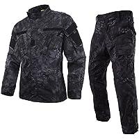 (ガン フリーク) GUN FREAK 迷彩服 上下セット BDU ハニカム迷彩 ジャケット パンツ ミリタリー サバゲー 戦闘服 (XL, タイフォン ブラック)