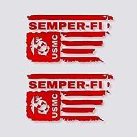 Kramer Sticker's shop ユーズド加工USMC米国海兵隊旗 Semper-FIビニールデカール 3.0 x 4.6 inches レッド 1691029458530