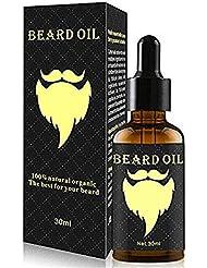 30ml男性用 ひげ油 保湿/滋養/ひげ根のケアなどの効果 毛髪成長用 ポータブル 100%オーガニックナチュラル (ゴールド)