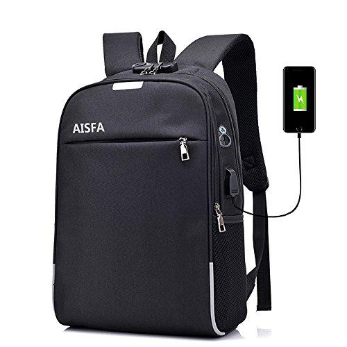 AISFA リュックサック バックパック PCバック ビジネスリュック 盗難防止 パスワードローク 大容量 ラップトップバック バックパック USBポートイヤホン穴付き