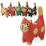 木彫り チビ 猫(赤) [ 癒し系ちびっ子 ネコ] 人気のバリ猫はちょっぴり働き者、尻尾は指輪掛けに