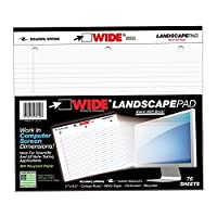 (White) - Roaring Spring Paper Products Wide Stiff-Back Pad, 28cm x 24cm , 75 Lined Sheets, White