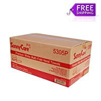 SunnyCare # 5305pホワイトプレミアム品質Multifold紙タオル200/ PK ; 16pks / CS